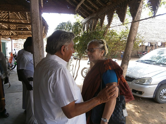 Mani Shankar Aiyar with his wife Suneet Vir Singh before leaving for his campaign.