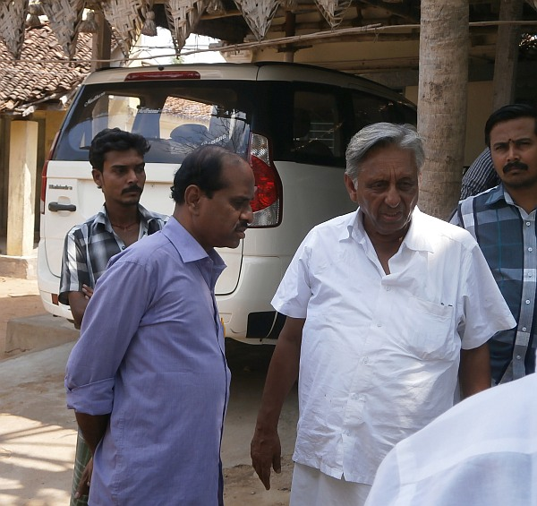 Mani Shankar Aiyar interacts with party workers before heading out for campaigning.