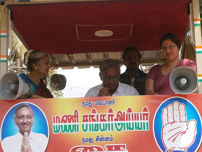 Mani Shankar Aiyar campaigns alomng with his wife, left, and daughter, right.