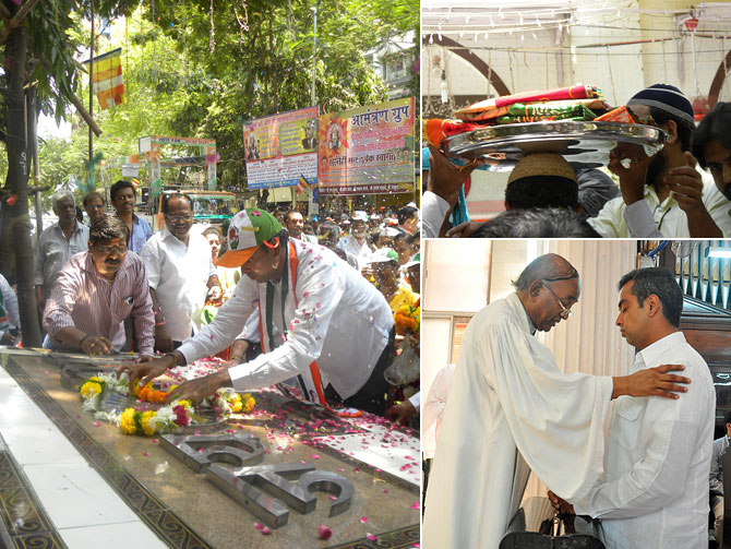 Prayers for every community: Milind Deora at a memorial for Dr Babasaheb Ambedkar (left); Taking a tray into a Colaba dargah on his head (top right); and receiving a blessing in a Byculla church on Easter (right bottom)