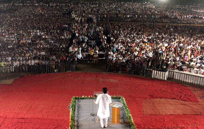 MNS President Raj Thackeray addresses a rally in Thane.