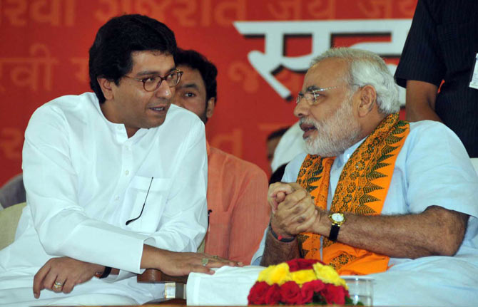 MNS President Raj Thackeray with Narendra Modi.