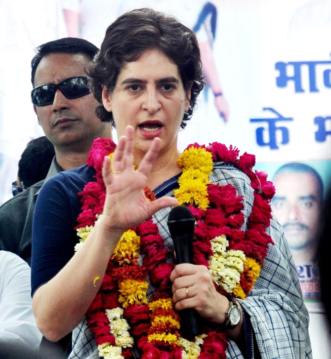 Priyanka interacts with the public in Rae Bareli