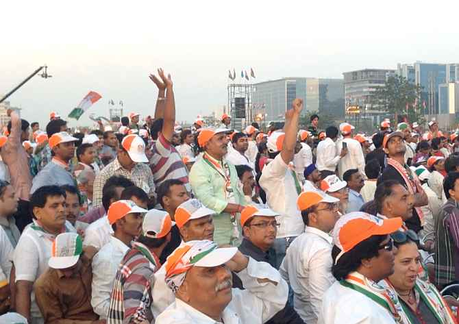 Congress supporters cheer for Rahul Gandhi during his rally in Mumbai on Sunday