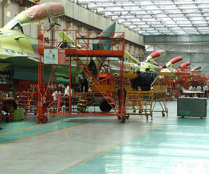 The Sukhoi-30MKI production line at Nashik which rolled out 15 fighters in 2013-14