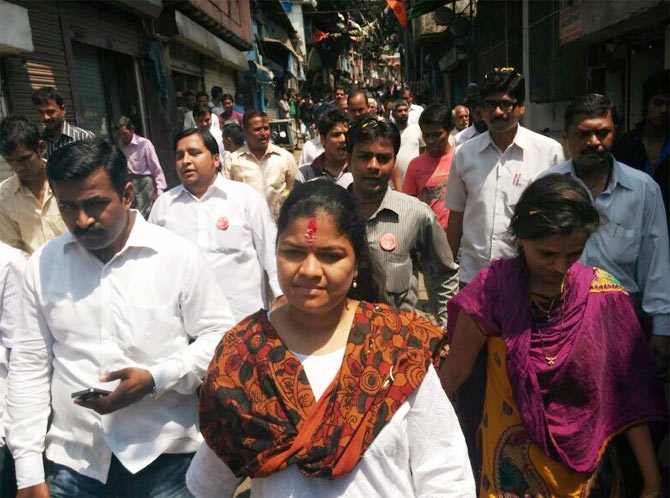 BJP candidate, Poonam Mahajan for Mumbai North Central in a rally Mumbai