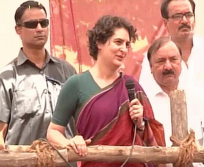 Priyanka Gandhi addresses her supporters during a camapaign in Rae Bareli