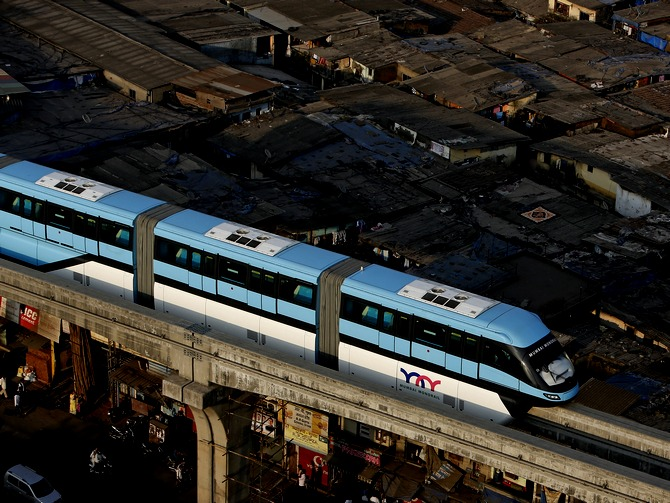 A single monorail vehicle carries no more than 568 passengers, as against a nine-coach suburban Mumbai local that has a capacity of about 2500 passengers, though twice as many people or more use it during the peak hours.