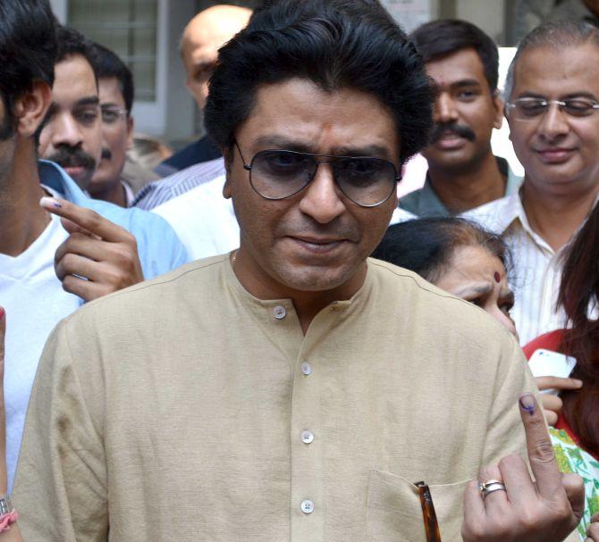 Maharashtra Navnirman Sena chief Raj Thackeray flaunts his inked finger