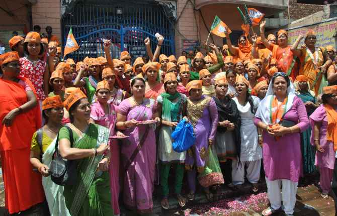 BJP supporters on the day Narendra Modi filed his nomination papers in Varanasi.