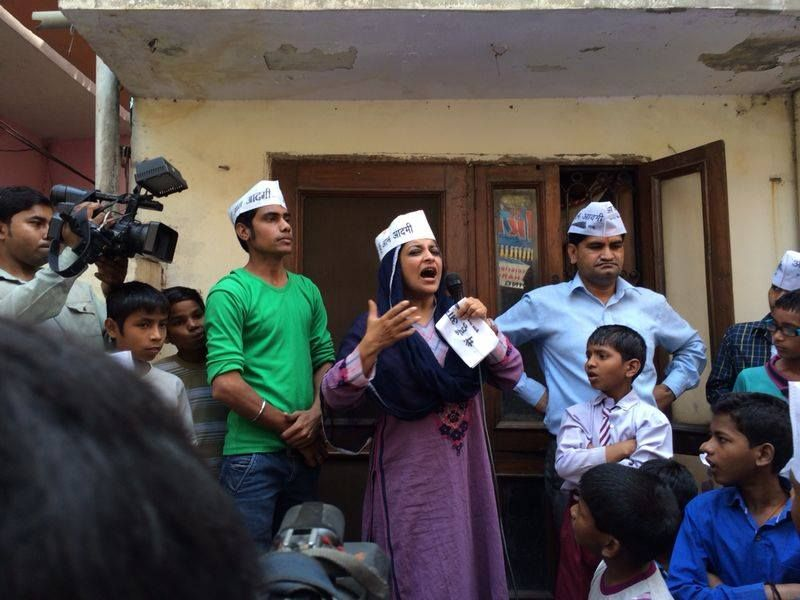 AAP leader Shazia Ilmi on the campaign trail in Ghaziabad.