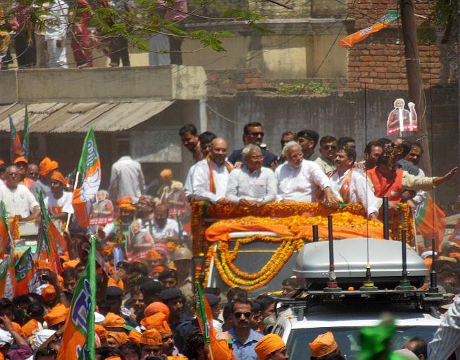 Narendra Modi held a road show before filing his nomination papers from Varanasi Lok Sabha seat