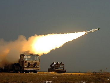 The IAF tests the Akash missile.