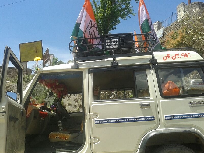 A vehicle belonging to the local Congress unit is all set for campaigning