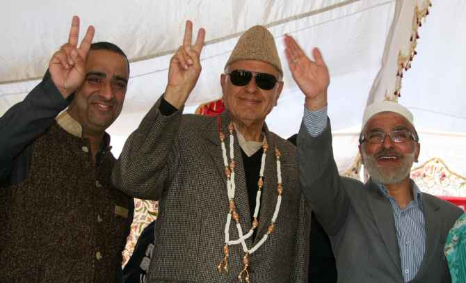 NC's Srinagar candidate and Union minister Farooq Abdullah at the rally on Sunday