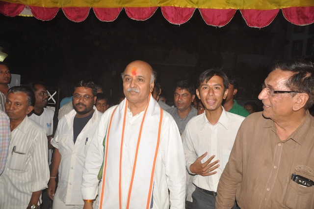 VHP International Working President Dr Pravin Togadia outside a makeshift VHP office in Krishna Nagar on the night of April 19, the day he is alleged to have asked the residents to forcibly take over properties owned by Muslims in Hindu areas without fearing the law.