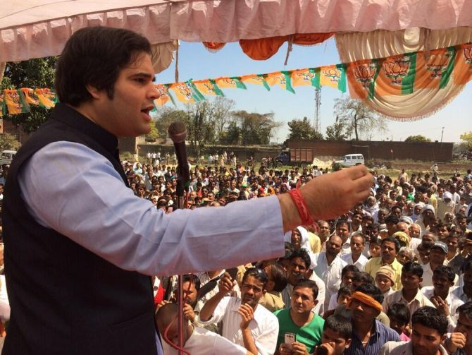 Varun Gandhi addressing a rally in Sultanpur.