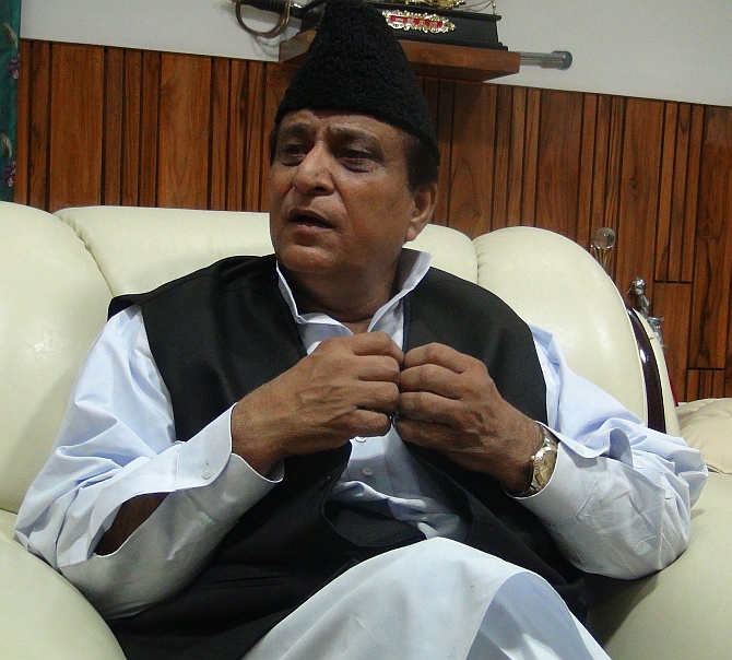 Uttar Pradesh Minister and Samajwadi Party leader Azam Khan at his Lucknow home.