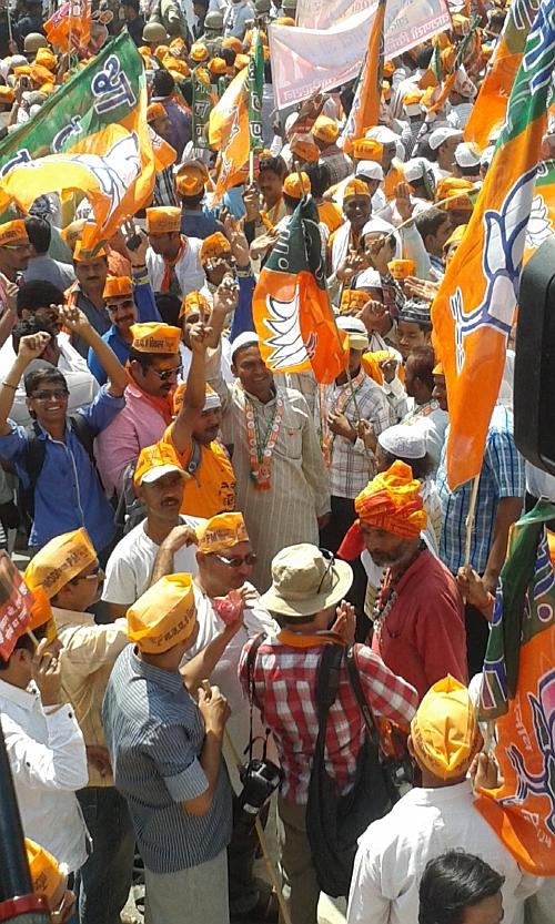 Muslims participate in Modi's roadshow in Varanasi.