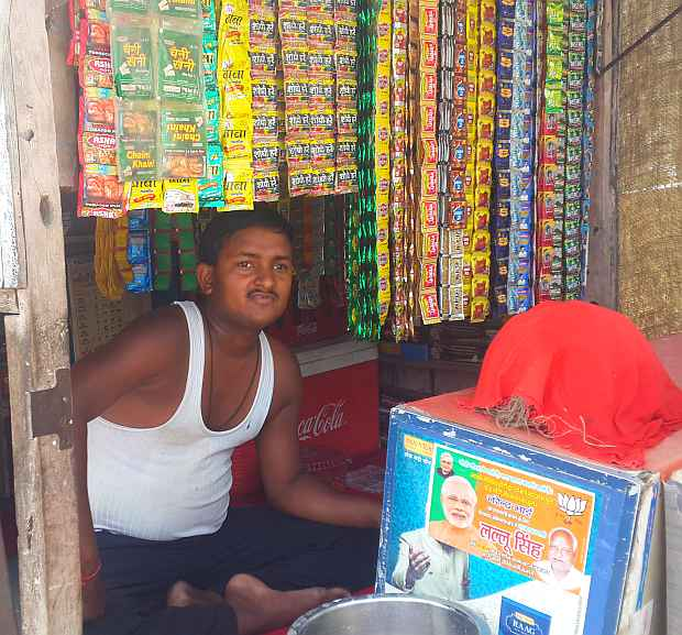 Badal Kumar Soni at his paan shop in Ayodhya.