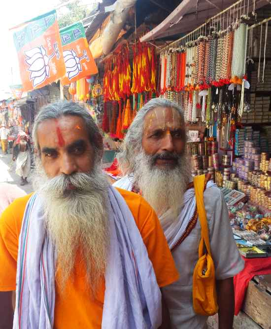 Sadhus near the Ram temple in Ayodhya.