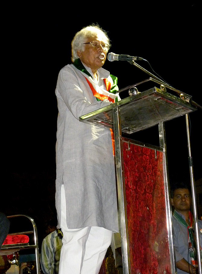 The Congress's Madhusudan Mistry whips up emotions at a rally in Vadodara.