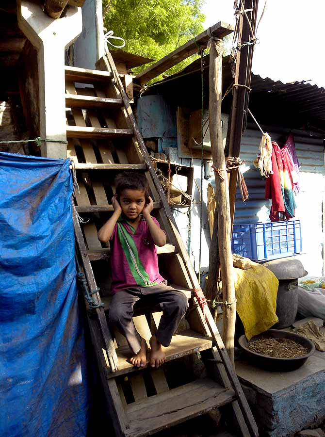 A child from Hathi Talau, a poorer area in Vadodara.
