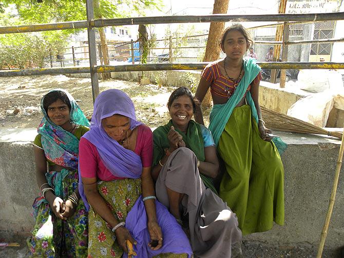 Kalee, Parul, Kamala and Kripa live at Kasamwada Kabrastan, Vadodara.