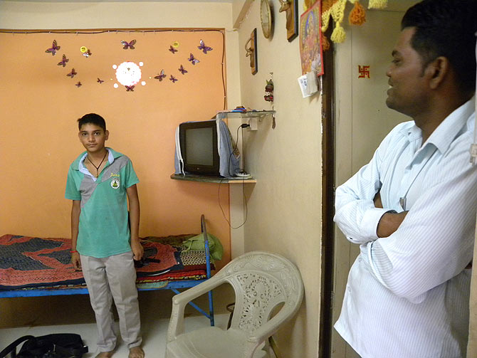 Pravin Parmar, right, lives at Chanakya Nagari, near Kalali Fatak, Vadodara.