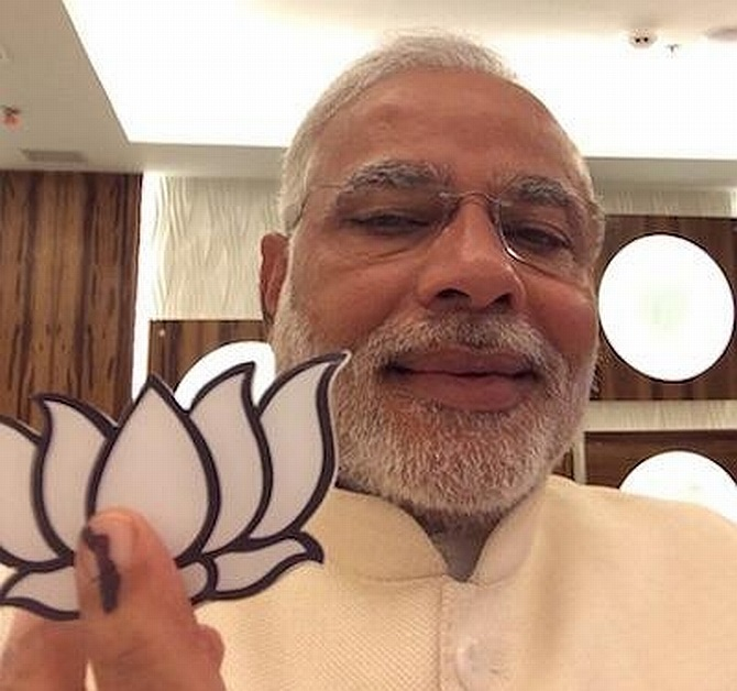 BJP's PM nominee Narendra Modi posts his selfie on his Twitter page