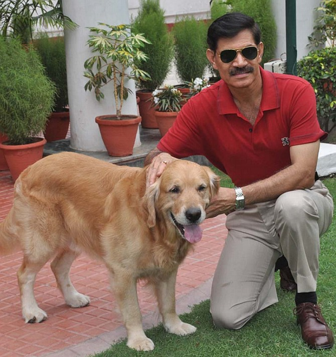 General Dalbir Singh with his four-year old Golden Retriever named Juno