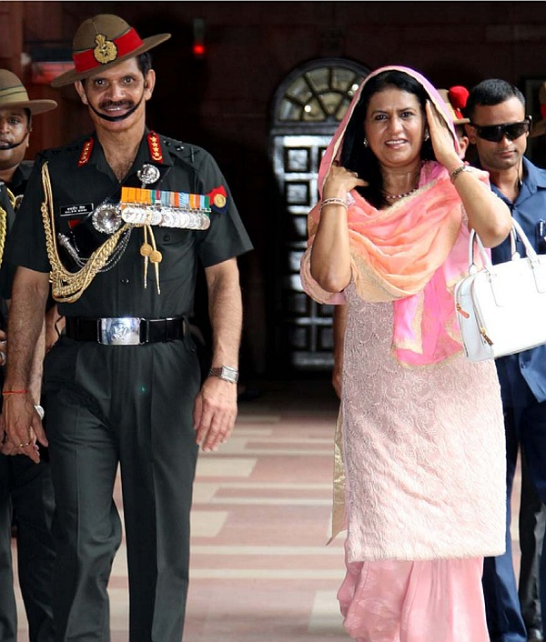 General Dalbir Singh with his wife Namita