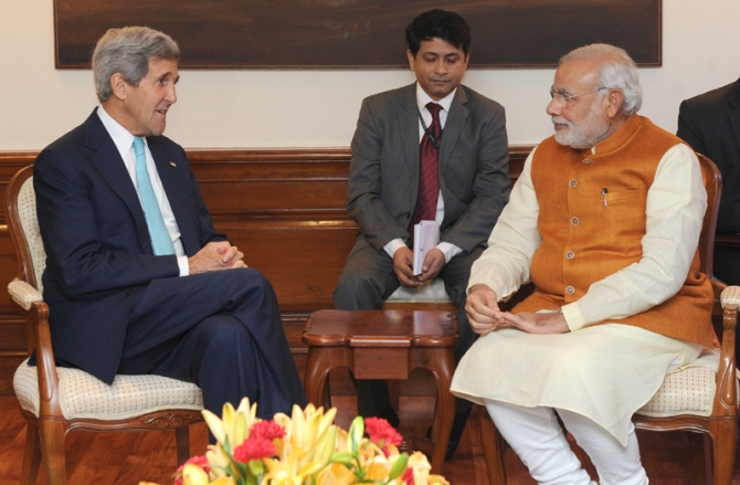 US Secretary of State John Kerry calling on Prime Minister Shri Narendra Modi, in New Delhi.