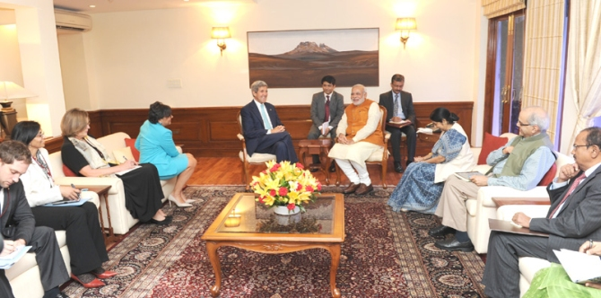 US Secretary of State John Kerry and US Secretary of Commerce Penny Pritzker calling on Prime Minister Narendra Modi, in New Delhi. Union Minister for External Affairs and Overseas Indian Affairs Sushma Swaraj is also seen.