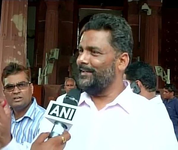 RJD MP Pappu Yadav outside Parliament after he threw paper at the Speaker