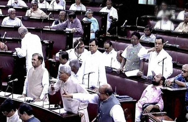 Lawmakers in Rajya Sabha arguing over the UPSC issue.
