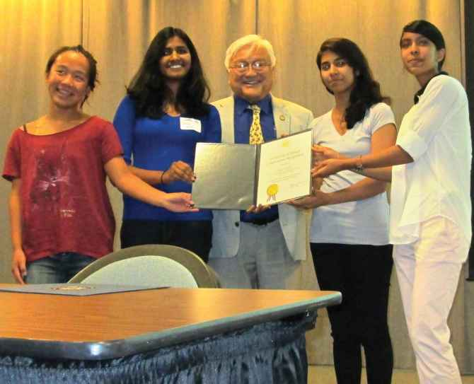From left, Christine Tung, Sravya Koduri, US Congressman Mike Honda, Amukta Nayak and Shivani Mouleeswaran.