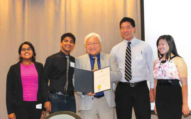 The BaggageTrack app development team with US Congressman Mike Honda.