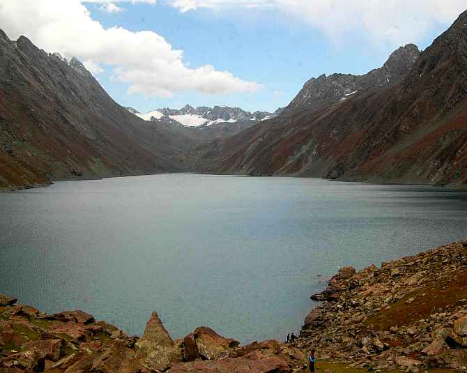 A view of the Kousar Nag lake in South Kashmir's Kulgam district