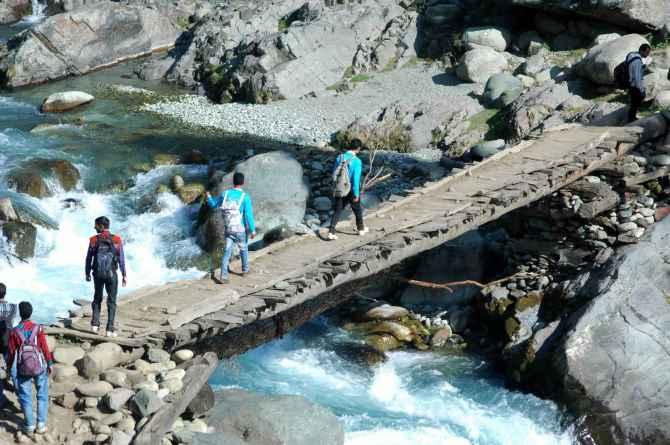 Tourists making their way to Kousar Nag lake in South Kashmir