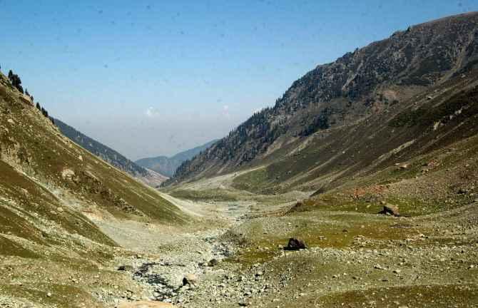 A view of the hills surrounding Kousar Nag lake