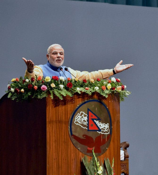 Prime Minister Narendra Modi addressing the Nepalese Parliament in Kathmandu