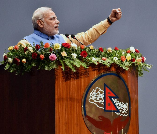 Modi is the first Indian PM to address the Nepal Parliament