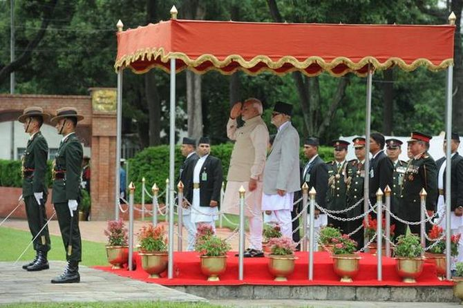 Modi was honoured with a 19-gun salute by the Nepal Army.