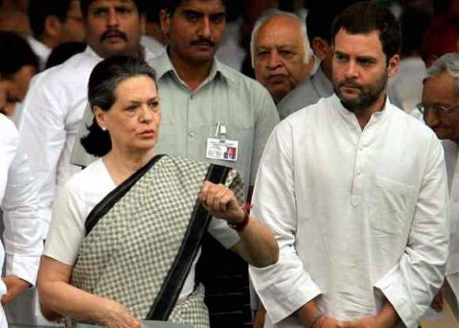 Congress vice president Rahul Gandhi with party chief Sonia Gandhi