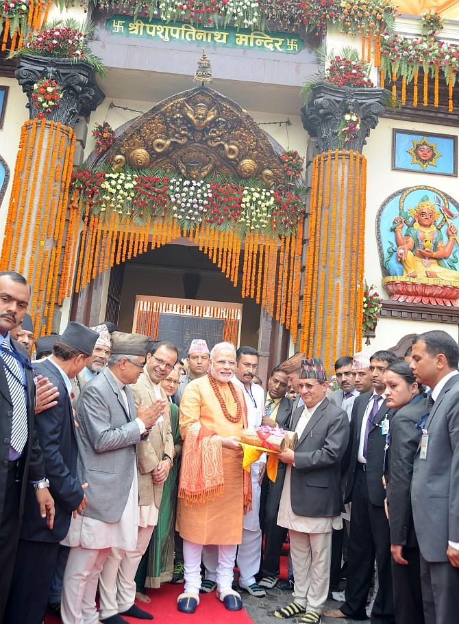 Prime Minister Narendra Modi at the Pashupatinath Temple, in Kathmandu, Nepal