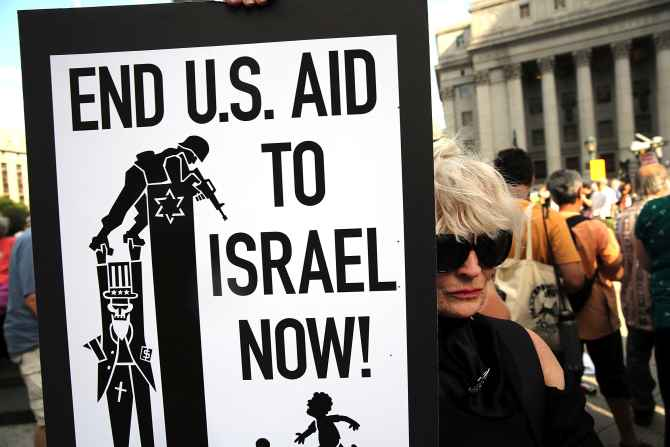 Peace activists in New York protest against Israel's military campaign in Gaza Strip.