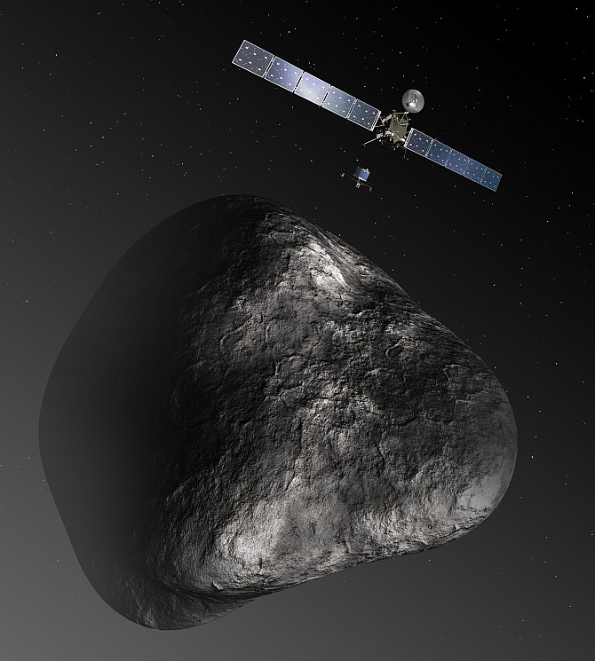 Artist's impression of the Rosetta orbiter deploying the Philae lander to comet 67P/Churyumov-Gerasimenko