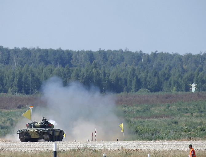 A tank fires at a target on the course of the Tank Biathlon world championship in Alabino