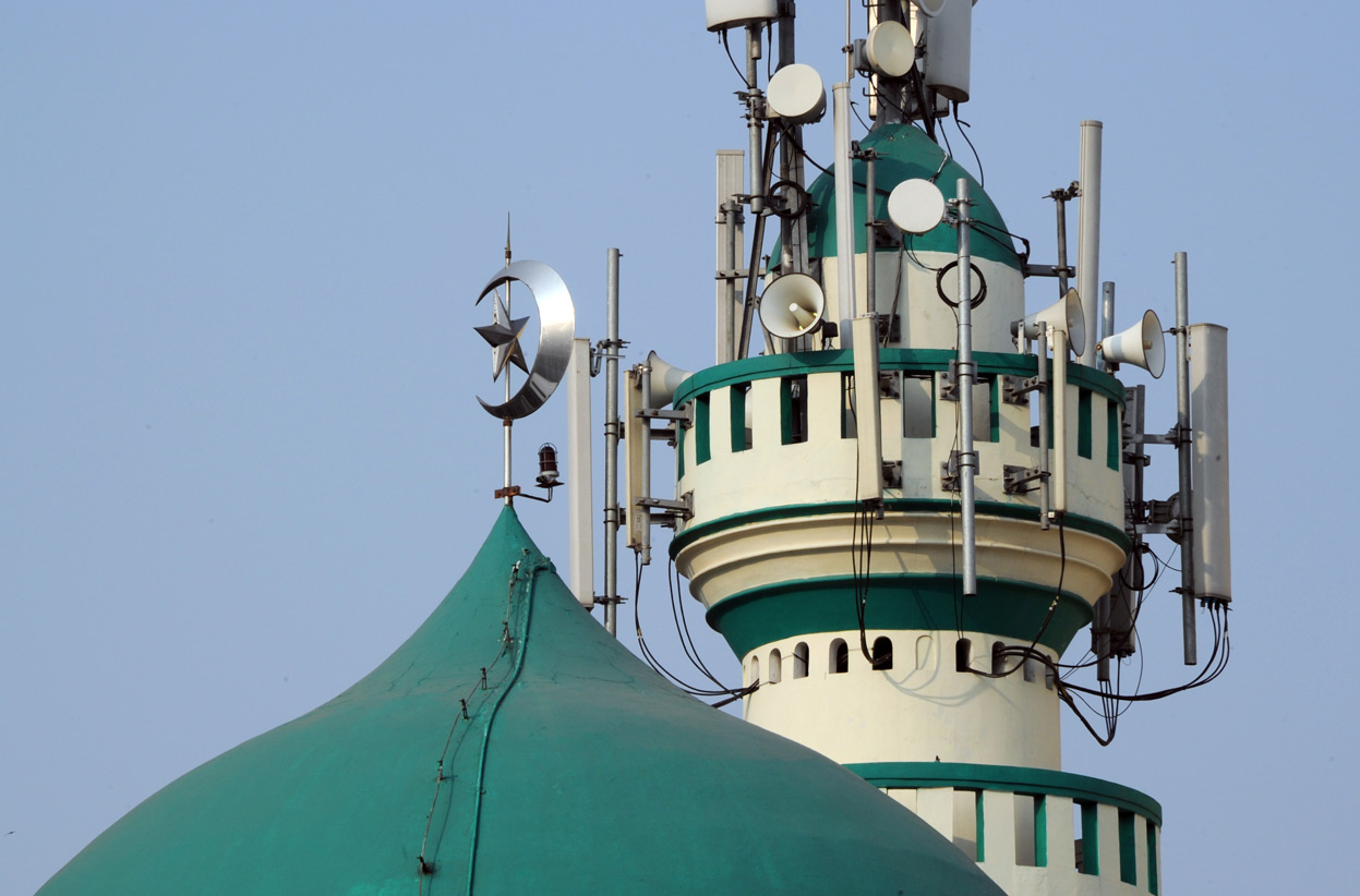 A mosque with loudspeakers